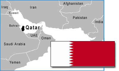 Qatar map and flag