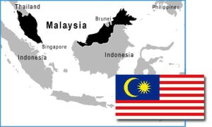 Malaysia map and flag